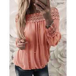 Plain Lace Regular Standard Women's Blouse