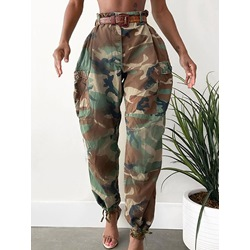 Camouflage Pocket Slim Mid Waist Women's Casual Pants