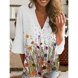Regular V-Neck Print Three-Quarter Sleeve Women's Blouse