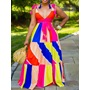 Print Floor-Length V-Neck High Waist Women's Dress