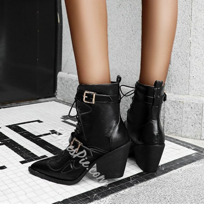 Shoespie Stylish Patchwork Pointed Toe Lace-Up Front Casual Boots