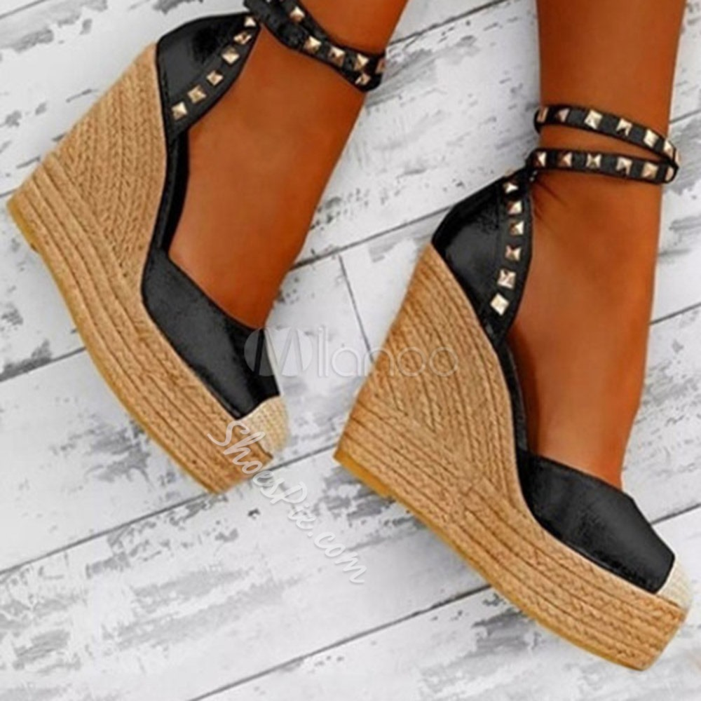 Shoespie Trendy Platform Wedge Heel Closed Toe Patchwork Thin Shoes