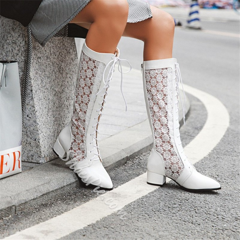 Shoespie Stylish Patchwork Back Zip Pointed Toe PU Boots