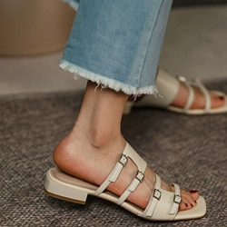 Shoespie Sexy Hollow Block Heel Flip Flop Plain Slippers