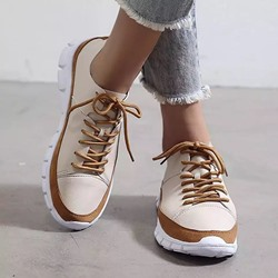 Shoespie Sexy Thread Round Toe Lace-Up PU Sneakers