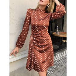 Above Knee Stand Collar Long Sleeve Polka Dots Women's Dress
