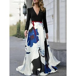 Floor-Length Long Sleeve V-Neck Fall Women's Dress