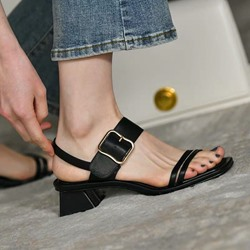 Shoespie Stylish Open Toe Chunky Heel Buckle Sweet Sandals