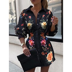 Print Lapel Above Knee Lantern Sleeve Women's Dress