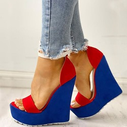 Shoespie Trendy Buckle Color Block Open Toe Wedge Heel Platform Sandals