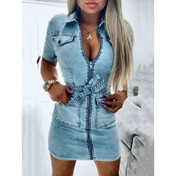 Lapel Short Sleeve Lace-Up Plain Women's Dress