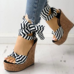 Shoespie Trendy Wedge Heel Lace-Up Open Toe Stripe Sandals