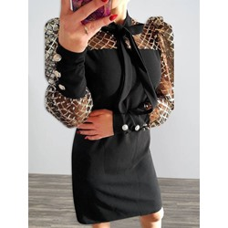 Above Knee Bow Collar Bowknot Puff Sleeve Women's Dress