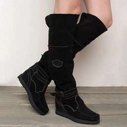 Shoespie Stylish Hidden Elevator Heel Plain Back Zip Thread Boots