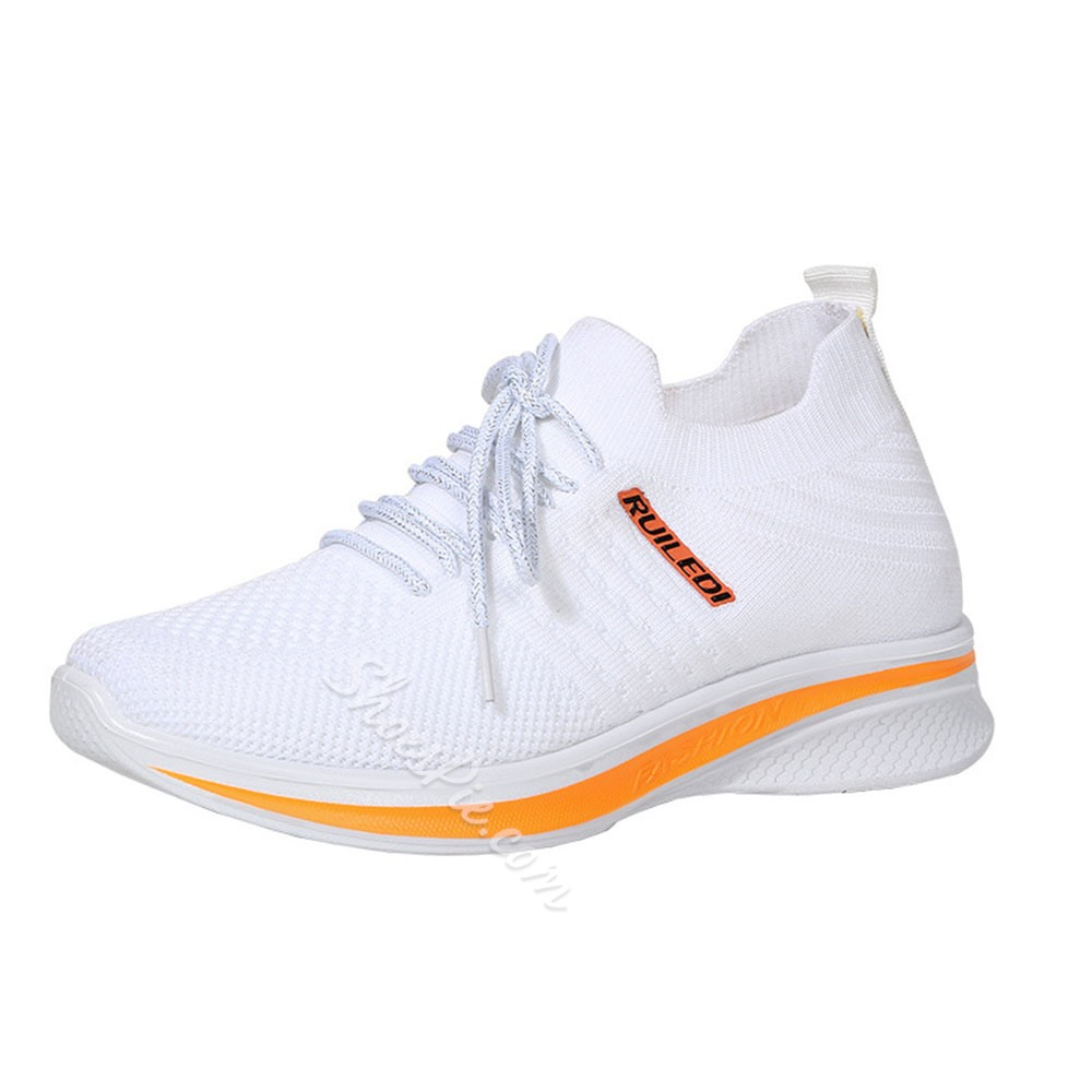 Shoespie Sexy Lace-Up Round Toe Cross Strap Color Block Sneakers