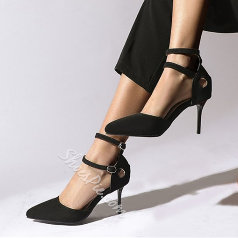 Shoespie Stylish Pointed Toe Buckle 8cm Thin Shoes