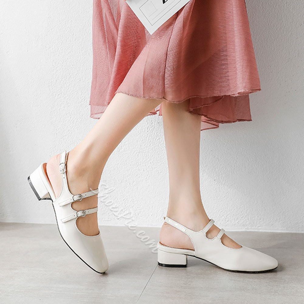 Shoespie Stylish Closed Toe Chunky Heel Buckle Buckle Sandals