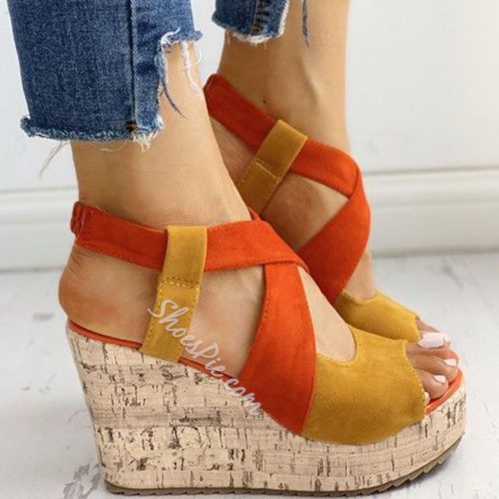 Shoespie Trendy Slip-On Wedge Heel Peep Toe Platform Sandals