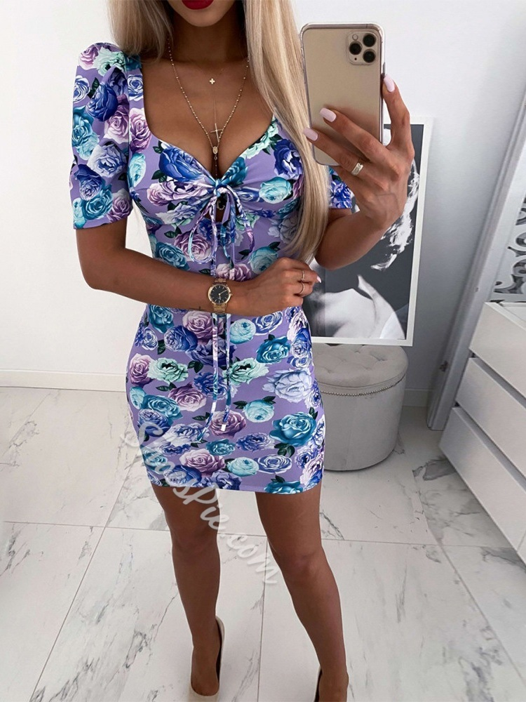 Above Knee Short Sleeve Lace-Up Sexy Women's Dress
