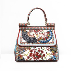 Shoespie Floral Print PU Rectangle Tote Bags