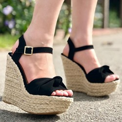 Shoespie Sexy Buckle Wedge Heel Open Toe Plain Sandals