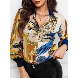 Lapel Floral Print Animal Plant Long Sleeve Women's Blouse