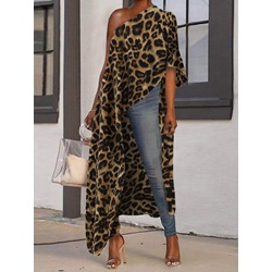 Long Three-Quarter Sleeve Leopard Loose Women's T-Shirt