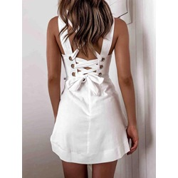 Sleeveless Above Knee Backless Pullover Women's Dress