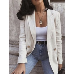 Notched Lapel Plain One Button Regular Women's Casual Blazer