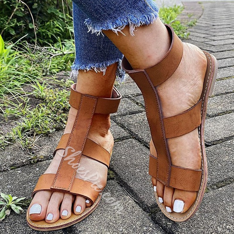 Shoespie Sexy Open Toe Flat With Velcro Hollow Sandals