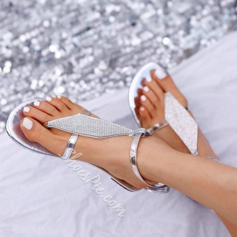 Shoespie Trendy Buckle Strappy Thong Plain Sandals