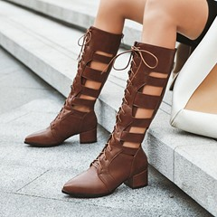Shoespie Trendy Plain Chunky Heel Back Zip Hollow Boots