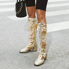 Shoespie Sexy Chunky Heel Square Toe Back Zip Sequin Boots