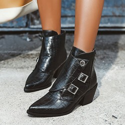 Shoespie Stylish Chunky Heel Pointed Toe Plain Casual Boots
