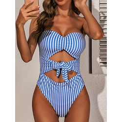 Bowknot Stripe Sexy Women's Swimwear