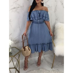 Short Sleeve Off Shoulder Mid-Calf Mid Waist Women's Dress
