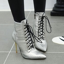 Shoespie Trendy Side Zipper Stiletto Heel Plain Lace-Up Boots