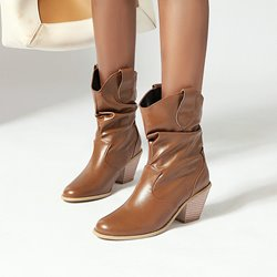 Shoespie Trendy Chunky Heel Pointed Toe Plain Casual Boots
