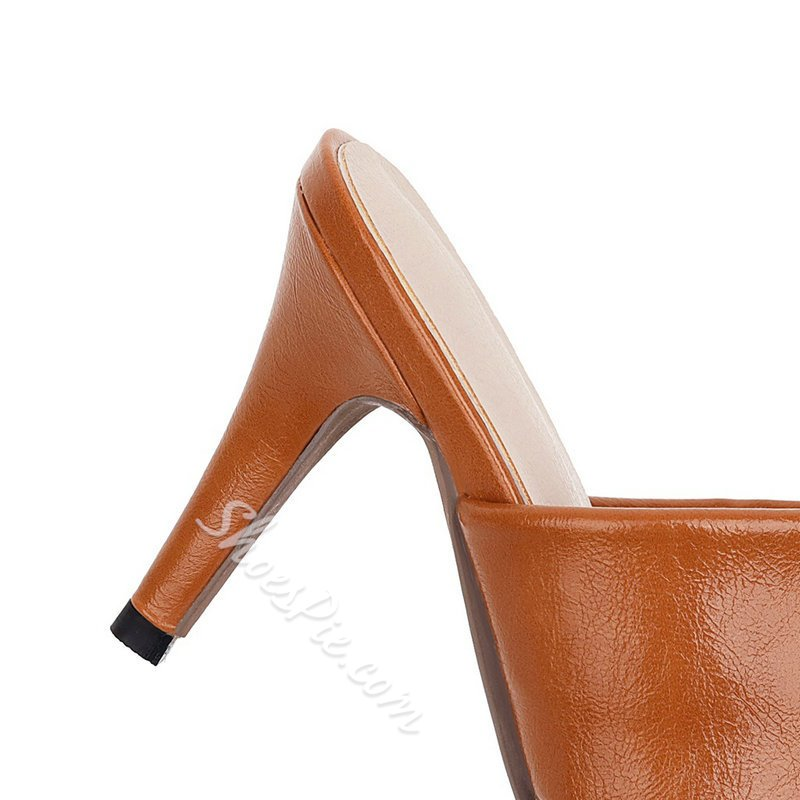 Shoespie Sexy Toe Ring Slip-On Stiletto Heel Rubber Slippers