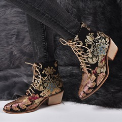 Shoespie Stylish Lace-Up Front Pointed Toe Chunky Heel Western Boots