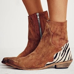 Shoespie Sexy Side Zipper Pointed Toe Chunky Heel Thread Boots