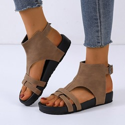 Shoespie Stylish Open Toe Flat With Buckle Thread Sandals