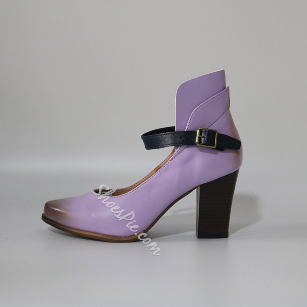 Shoespie Stylish Chunky Heel Pointed Toe Buckle Western Thin Shoes
