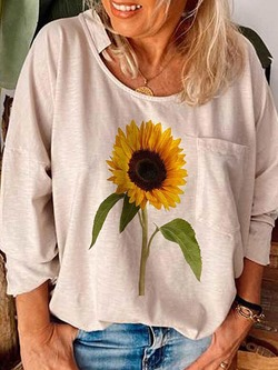 Floral Long Sleeve Standard Simple Women's T-Shirt