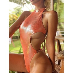 Sexy One Piece Plain Women's Swimwear