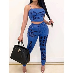 Letter Fashion Pocket Pencil Pants Women's Two Piece Sets