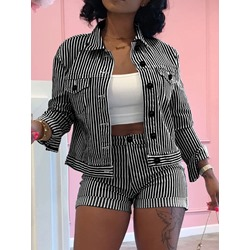 Shorts Button Simple Lapel Women's Two Piece Sets