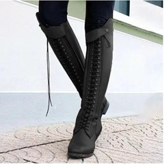 Shoespie Sexy Pointed Toe Chunky Heel Plain Western Boots