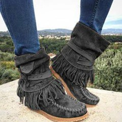 Shoespie Sexy Round Toe Plain Hasp Casual Boots