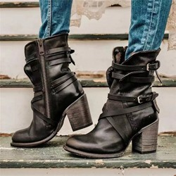 Shoespie Trendy Round Toe Chunky Heel Side Zipper Casual Boots